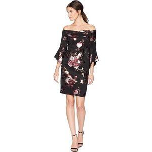 bebe Black floral off the shoulder dress